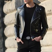 Spring thin section of men's leather jacket handsome handsome young man short Lapel motorcycle leather jacket trend