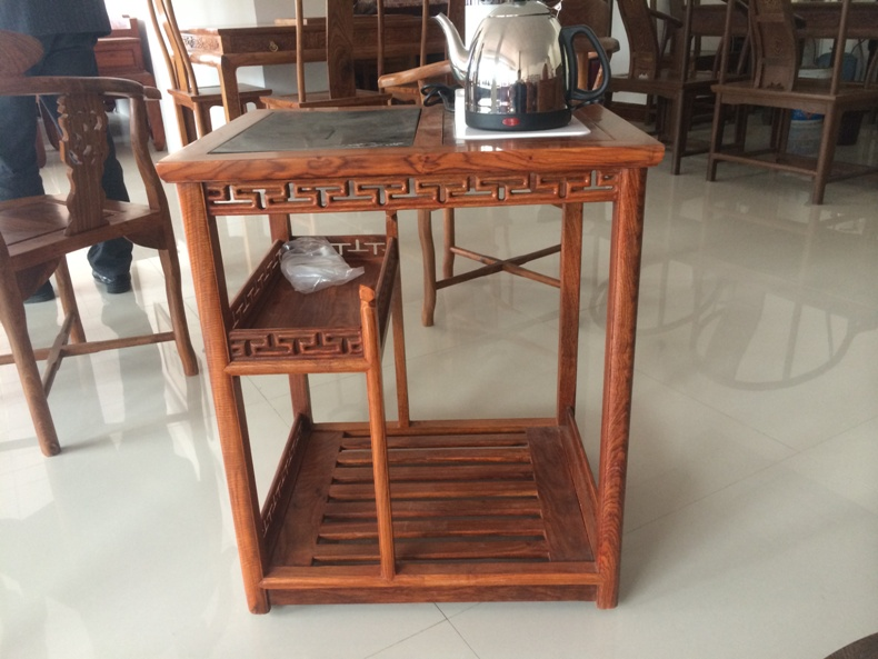 Hedgehog eucalyptus induction cooker with pulley mobile coffee table Ming and Qing classical small tea table redwood corner a few flowers pear wood edge a few