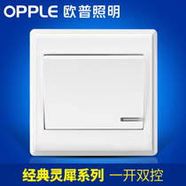 Op a double control power switch button socket panel wall household package P06 white light switch G