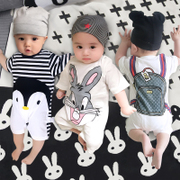 Baby baby girl summer summer clothes thin 6 male newborns aged 0 1 ha clothing short sleeved cotton 3 months