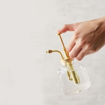 Retro glass watering can small brass spray bottle pouring fleshy micro landscape potted cafe desktop ornaments design