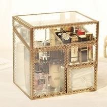 复古铜边玻璃收纳盒 唇釉收纳桶 化妆刷筒 口红防尘带盖化妆盒