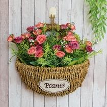 田园草编墙面壁挂装饰花篮藤编仿真干燥花花篮套装欧式创意手工花盆