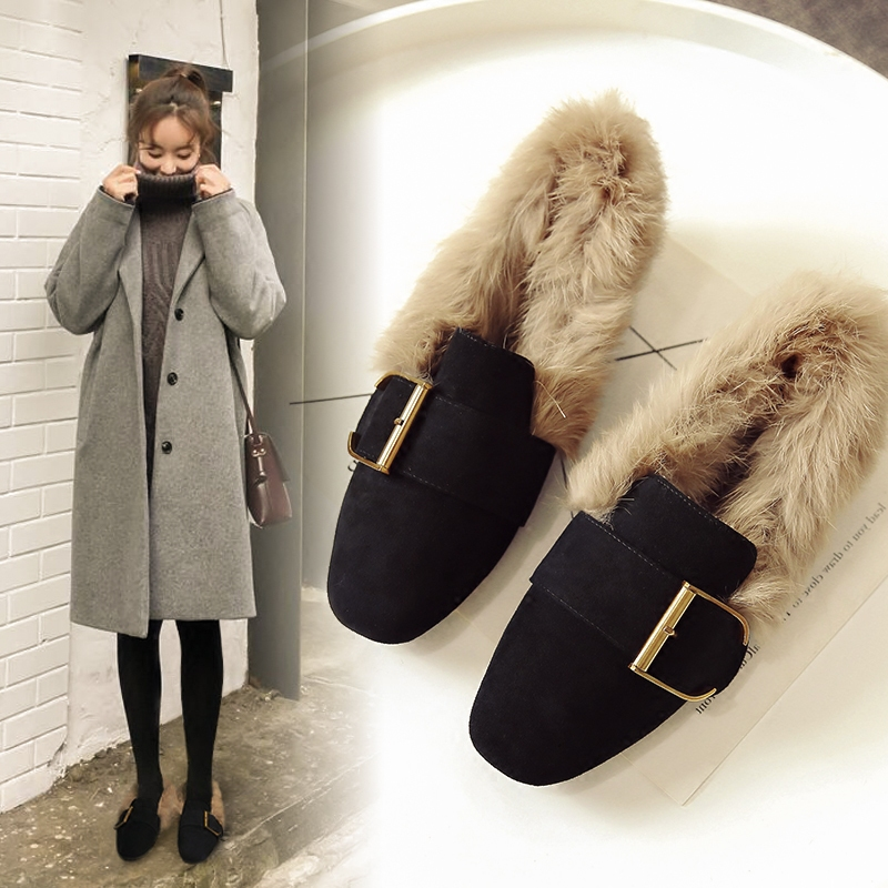 Single Shoe Female Autumn and Winter 2019 New Flat Bottom Baitie Square Bean Shoes Female Fashion Rabbit Hair Plus Furry Shoes