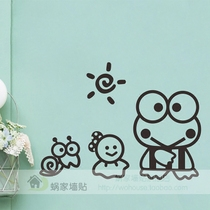 Keroppi Big Eye frog cute creative anime cartoon Notebook sticker Switch sticker glass sticker Wall Sticker