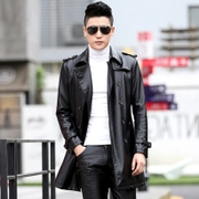 In the long section of 2017 new young Korean men's leather padded leather windbreaker jacket slim handsome Haining tide