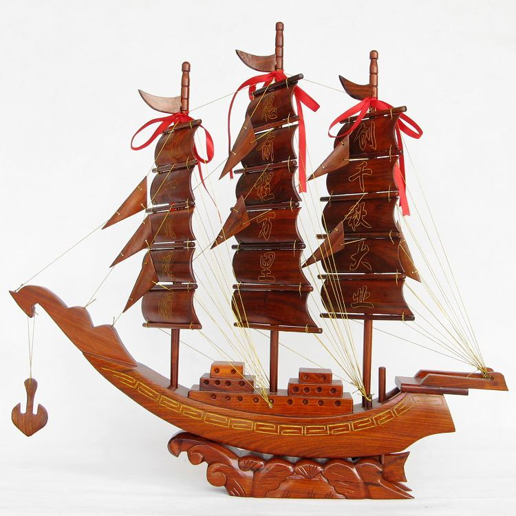 Rosewood Craft Huali Wood Carving Sailing Model Solid Wood Sailing Piece Size 65cm