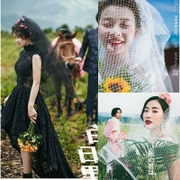 The new black and White Organza bride wedding veil large mesh gauze photography camera shape diamond mesh yarn yarn
