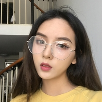46a97f36fb Retro Polygon glasses frame female irregular makeup can be equipped with  myopia glasses male Korean version