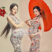 66- pregnant women clothing photography photo camera rental flowers dress Retro Modern cheongsam studio pictures of clothes