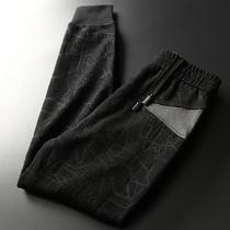为秋季而生 高贵品质保暖蜈蚣纱 裤子 皮拼接抽绳修身九分裤 男