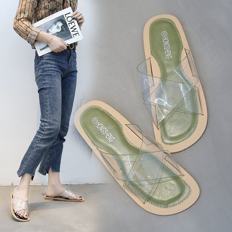 Korean Slippers Women's Summer Transparent Cross Belt Flat Bottom Outside Beach Slippers Fashionable Slip-proof Leisure Women's Shoes
