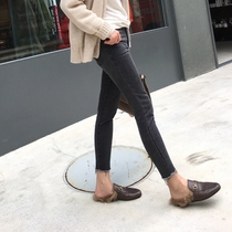 Amyy Studios show thin legs long classic trousers type black gray tight flash small mouth jeans