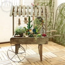 American country Retro Wooden trolley decorative rack multi-meat shelf small flower frame creative shop furnishings Props