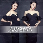 180 personality pictures photo studio rental clothing making big belly pregnant women fashion sexy black dress
