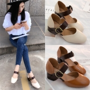 In the summer of 2017 with a single button Mary Jane shoes Crocs shoes with thick Baotou Rome grandmother female summer sandals