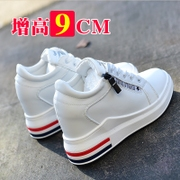 2017 new fall in high heeled shoes 8cm shoes all-match increased white thick bottom slope documentary casual shoes