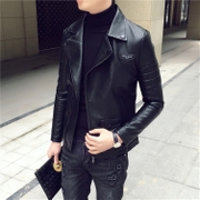 The new trend of the new style of the South Korean men's leather jacket jacket