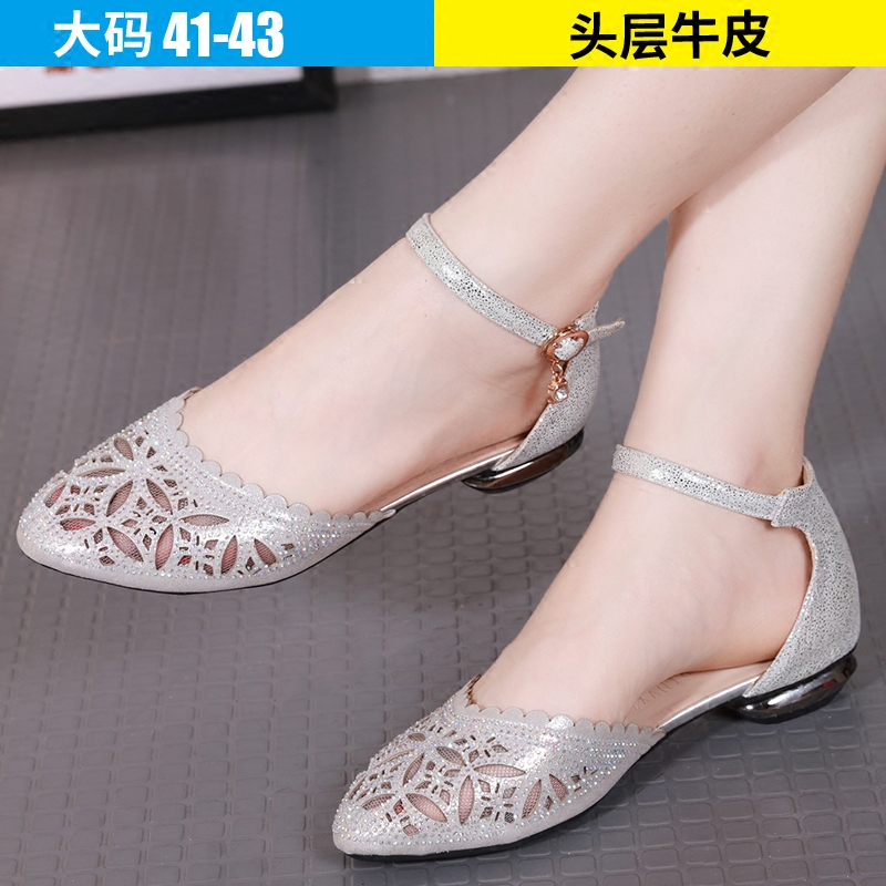 Fall 2009 fashion leather hollow large size sandals for women 41-43 flat-soled new fat-footed Baotou women's shoes