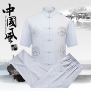In the old male costume short suit summer new men's collar half sleeve shirt with Chinese father lay clothes