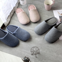 Japanese-style knitted slippers Simple solid color home leisure slippers non-slip soles for men and women lovers multi-color