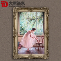 Real shot pure hand-painted contemporary painter Guan character oil painting European living room Xuan Guan painting Ballet painting M81