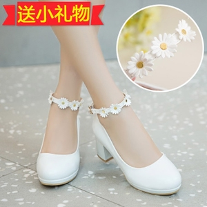 e83f2f90eba Spring day Korean series slotted buckle Sweet flowers high-heeled coarse  with leather shoes Lolita