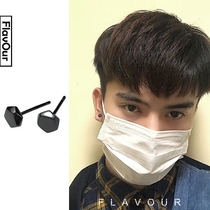 Fragrance] Day South Korea S925 pure silver ear nail men and women simple retro personality anti-allergic pentagonal black earrings