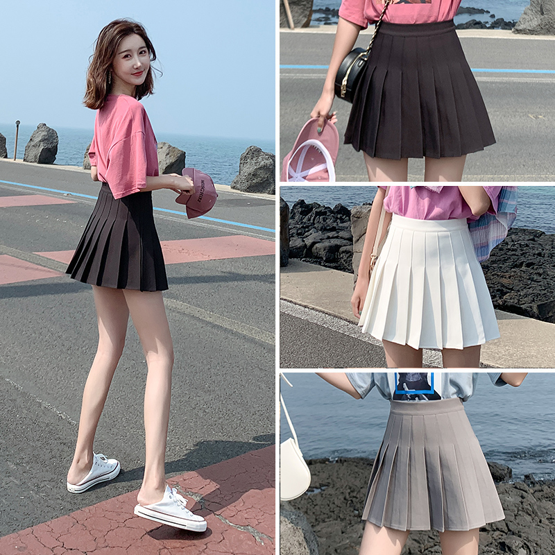 Pleated skirt female autumn and winter black short skirt high waist a-line thin skirt summer white spring tb gray large size