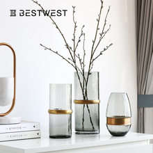 Lightweight and luxurious glass vase ornaments modern simple living room decorations Nordic table transparent flower vase design