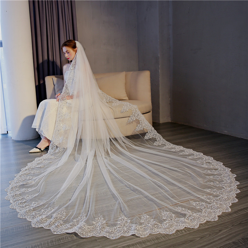 2020 new Korean bride long 3m lace travel veil super fairy wedding long tail veil