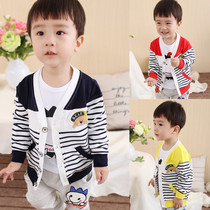 Cotton baby clothes baby Cardigan 5-6-7-8-9 a month in the fall childrens 0-1-2 stripe jacket