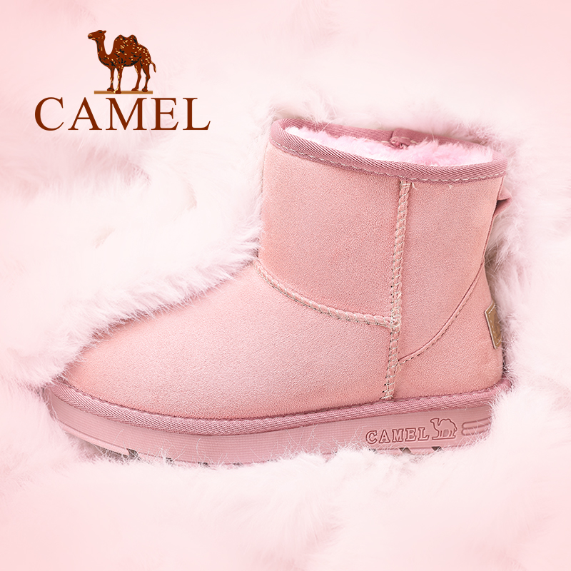 Camel women's shoes 2017 winter new snow boots women plus velvet flat boots students short tube women's boots cotton shoes women winter
