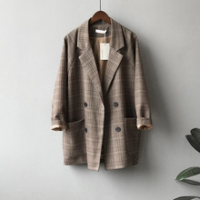 Plaid Plaid suit coat women's Retro Hong Kong style spring and autumn thin British style