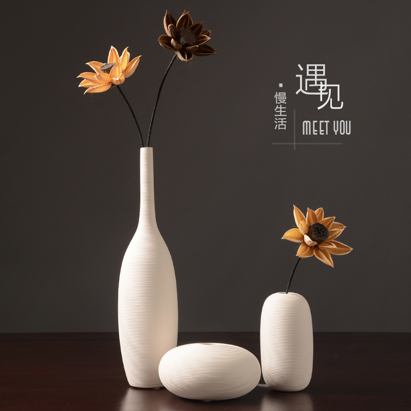 Nordic white ceramic vase decoration modern minimalist European flower arrangement dried flower flower living room home soft decoration