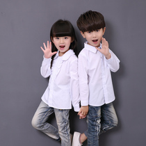 Girls long sleeve shirt cotton school costume dance wear uniforms for children in white t shirt large boys shirts