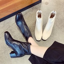 Mid-heel Mi-white Shoe Girls Fall and Winter 2019 New Cortical High-heel Girls Shoes with Rough-heeled Soft-faced Temperament and Slim Ankle Boots