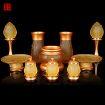 Taiwan Pure bronze Buddha with set for Buddha supplies household glass Water supply cup incense furnace for Ford Buddha set Decoration