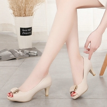 Summer 2020 new women's shoes versatile professional white collar work ol high heeled fish mouth middle heel thick heel sandals single shoe women