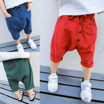 Child harem tide summer boys crotch of seven thin cotton pp version easy wide leg leisure