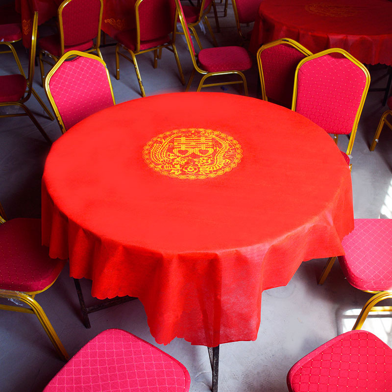Wedding printing disposable tablecloth plastic wedding thickening disposable red tablecloth wedding square table round table