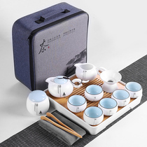 Brother kiln travel kung fu tea set small set simple home carrying bag outdoor collection simple Japanese teapot tea art