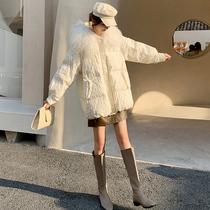 Beach wool collar down jacket womens 2020 winter new fashion loose