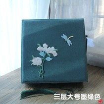 Plum embroidery jewelry box double-layered lock box wooden collection box.