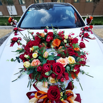 Angie wedding flower arrangement Guangdong sales of more than six hundred and six years old shop layout wedding sen main wedding car decoration car head flower set small red book simulation rose knot