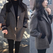 2017 свободный тонкий chic в небольшой костюм корея ретро сетка шерсть костюм пальто женские короткие мать-и-мачеха